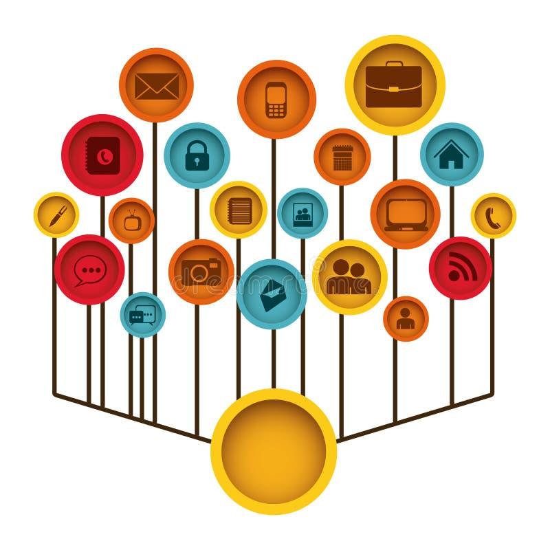 sito Web delle icone di tecnologia di colore illustrazione vettoriale