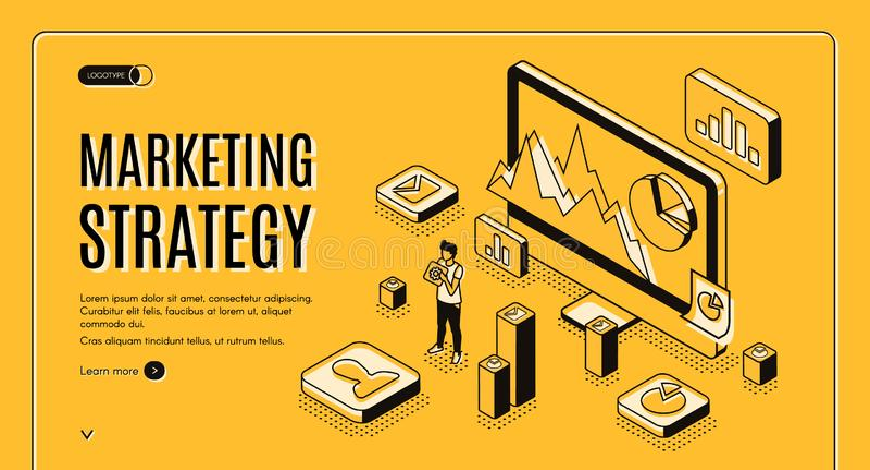 Sito Web di progettazione di vettore di servizio di strategia di marketing illustrazione vettoriale