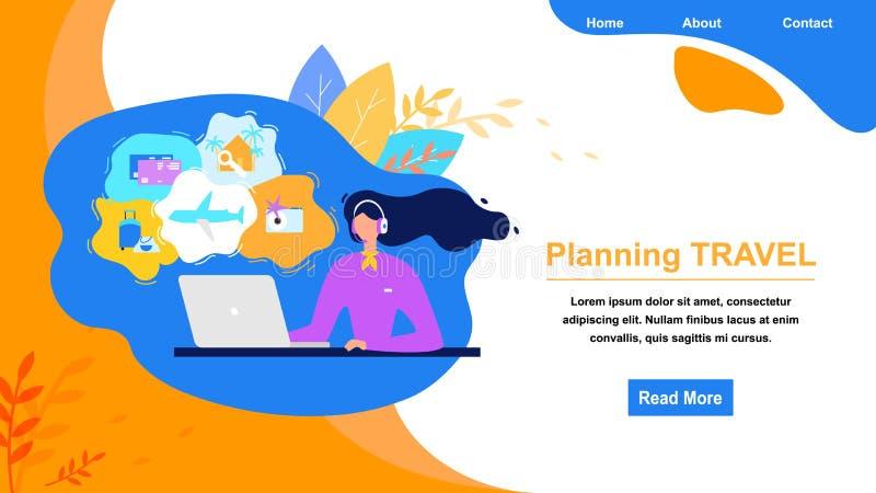 Sito Web di vettore del piano di servizio online dell'agenzia di viaggi royalty illustrazione gratis