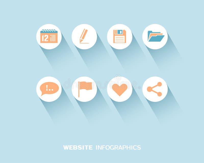 Sito Web infographic con le icone piane messe royalty illustrazione gratis