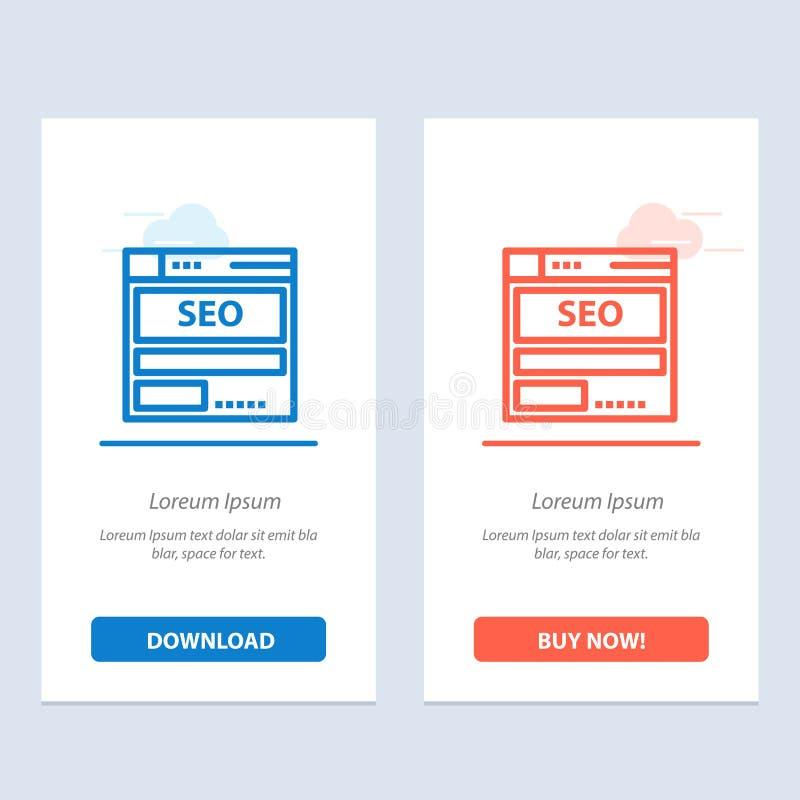 Sito Web, server, dati, ospitare, Seo, blu di tecnologia e download rosso ed ora comprare il modello della carta del widget di we illustrazione di stock