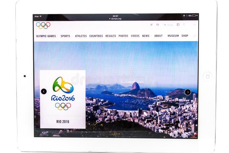 Sito Web ufficiale dei 2016 giochi olimpici di estate fotografia stock libera da diritti