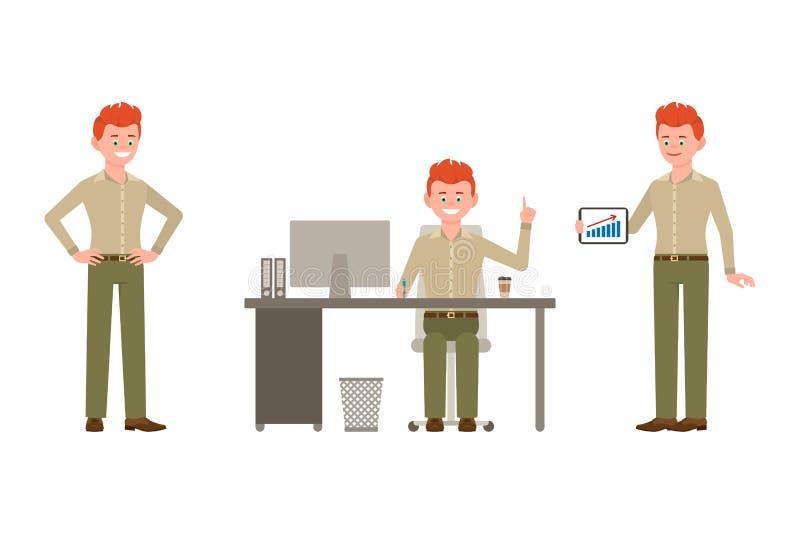 Sitta på skrivbordet och att stå med minnestavlan som pekar fingerpojketeckenet Lyckligt och att le, för kontorsman för roligt rö stock illustrationer