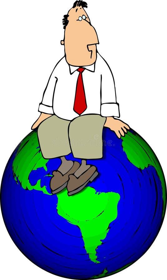 sittande övre värld royaltyfri illustrationer