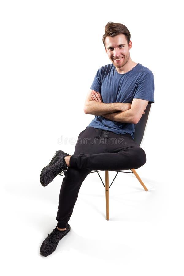 sittande barn för stolsman royaltyfri fotografi