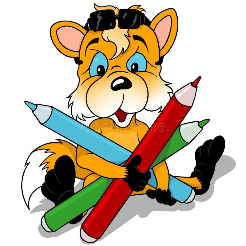 Sittande gulligt färgade blyertspennor för räv innehav stock illustrationer