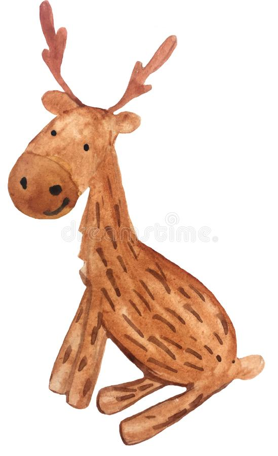Sittande hjortar för nytt år för tecknad film vattenfärghandteckning som är illustrativ för design av vykort, affischer och tryck stock illustrationer