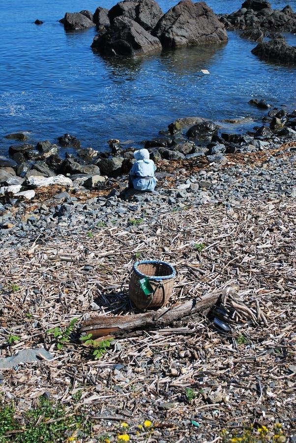 sittande kvinna för kust arkivfoton