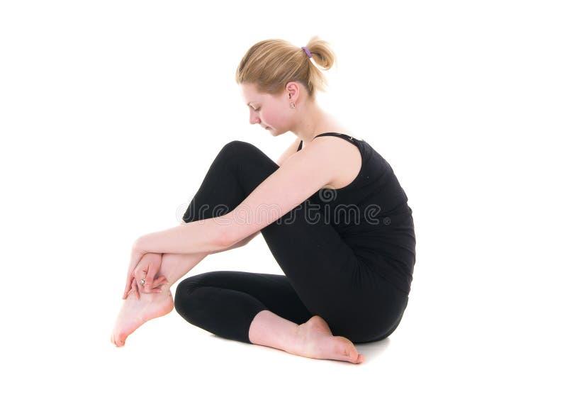sittande kvinnabarn för svart body arkivfoton