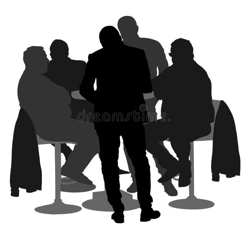 Sittande och talande kontur för många personer Nattklubbgäster stock illustrationer