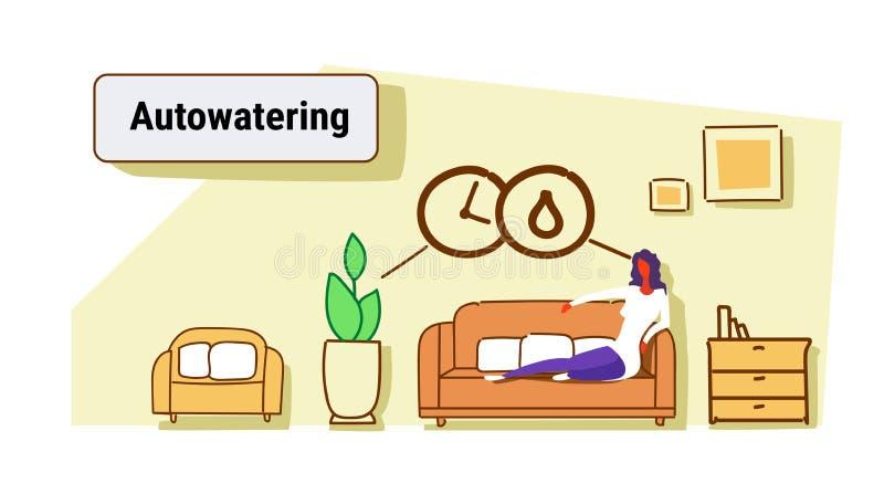 Sittande soffa för kvinna genom att använda automatiskn som bevattnar för husteknologi för applikation den smarta inre för vardag royaltyfri illustrationer