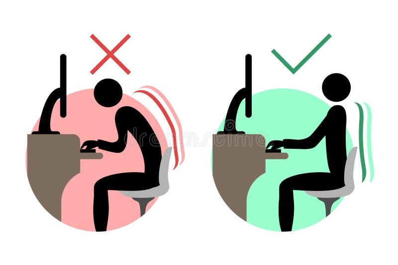 Sittande symboler för bra och dålig baksida royaltyfri illustrationer