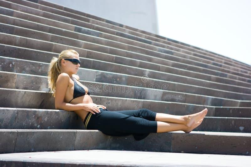 sittande trappa royaltyfri bild