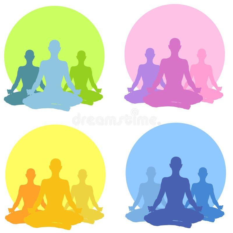 sittande yoga för samlingspos. stock illustrationer