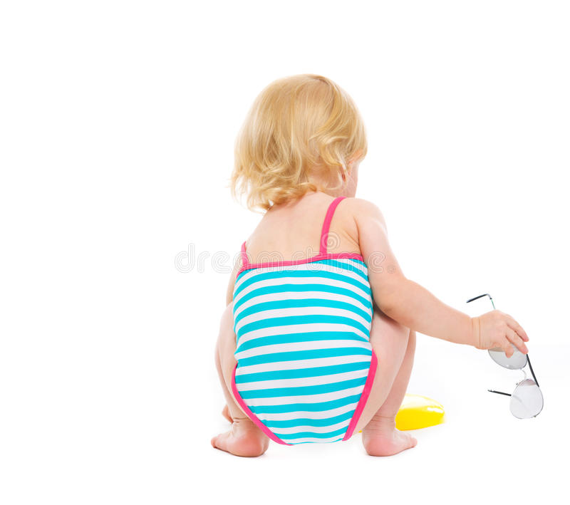 Download Sitting Baby In Swimsuit With Sun Glasses Stock Image - Image: 25702591