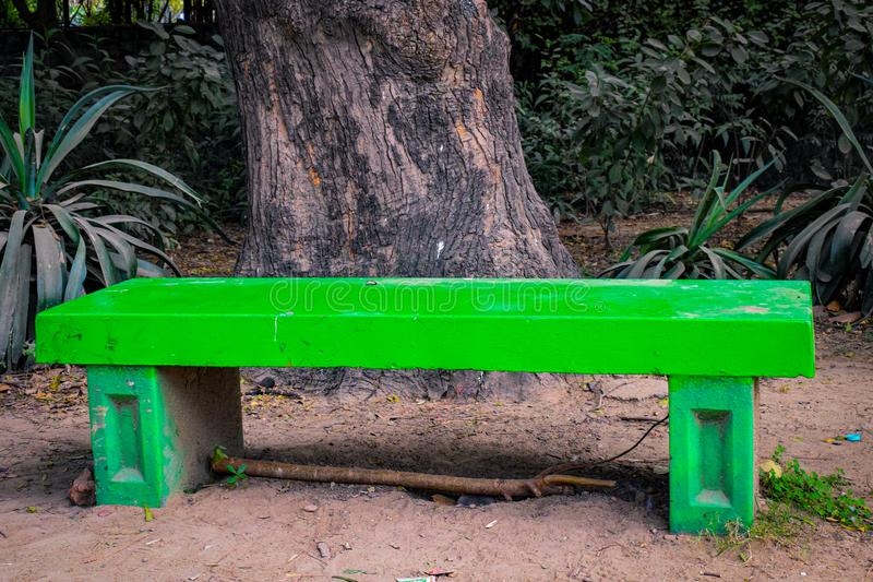 Sitting banch in the park, sitting place for the people in Lodhi Garden Delhi India stock photo