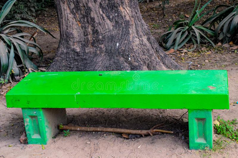 Sitting banch in the park, sitting place for the people in Lodhi Garden Delhi India stock image