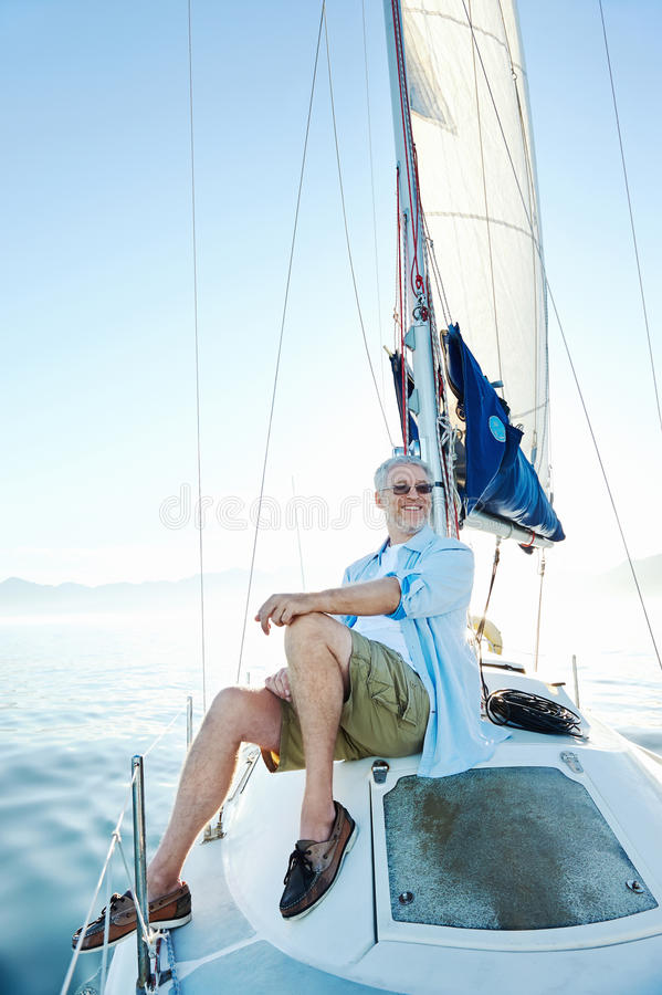 Sitting On Boat Man Royalty Free Stock Image