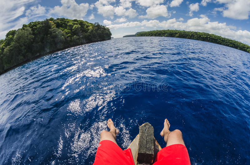 Sitting on a boat in tropocal islands. On a boat in tropocal islands royalty free stock photography