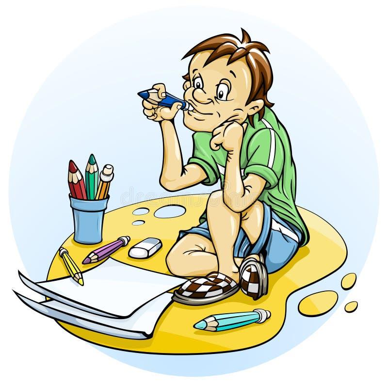 Download Sitting boy draw pencil stock illustration. Illustration of sheet - 14856214