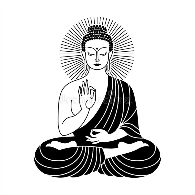 Free Sitting Buddha Black And White Vector Line Drawing Stock Photos - 180784073