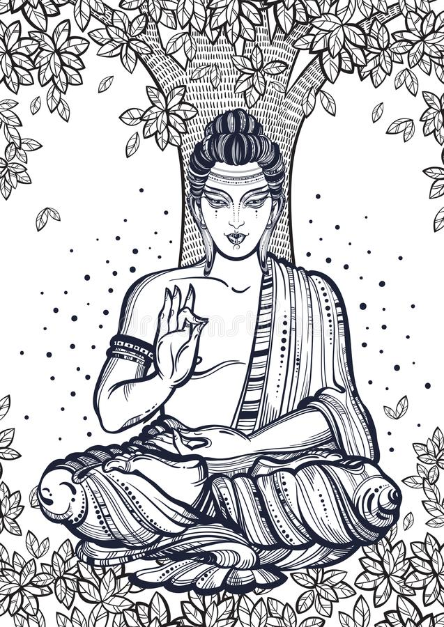 Sitting Buddha over the Bodhi Tree. Graphic high-quality vector illustration. Spiritual and religious motives. Coloring book page for adults vector illustration