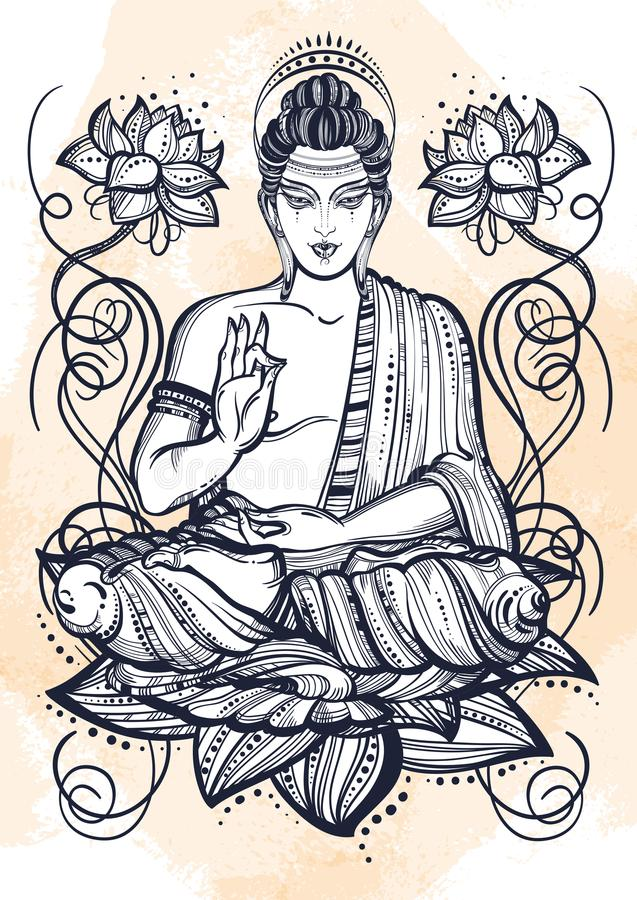 Free Sitting Buddha Over Lotus Flowers. Hand-drawn Beautiful Vector Art, Graphic Illustration . Grange Watercolor Background Stock Image - 115772711
