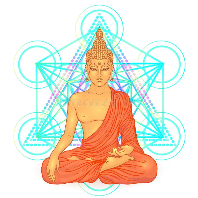 Free Sitting Buddha Over Sacred Geometry. Esoteric Vintage Colorful V Stock Image - 101859811