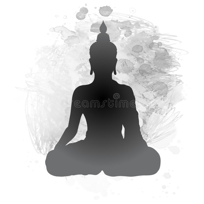 Free Sitting Buddha Silhouette Over Watercolor Black And White Background. Vector Illustration. Vintage Decorative Composition. Indian Stock Image - 140637281
