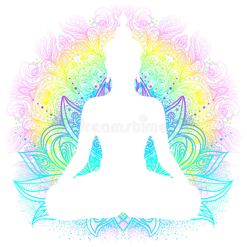 Sitting Buddha silhouette. Vintage decorative vector illustration. Hand drawn mandala. Mehenidi ornate decorative style. Yoga stu stock illustration