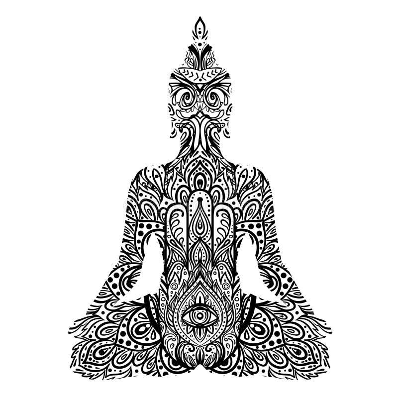 Sitting Buddha silhouette. Vintage decorative vector illustration isolated on white. Mehenidi ornate decorative style. Yoga stock illustration