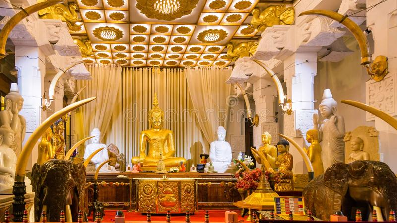 Temple of the Tooth. in Kandy, Sri Lanka. Sitting Buddha statue in Temple of the Tooth. Kandy, Sri Lanka royalty free stock photo