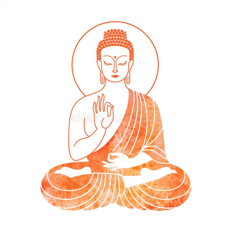 Free Sitting Buddha Watercolor Vector Illustration Stock Photo - 180784090