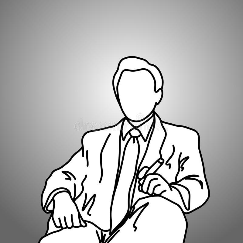 sitting businessman with cigar on his left hand vector illustration doodle sketch hand drawn with black lines isolated on gray ba stock illustration