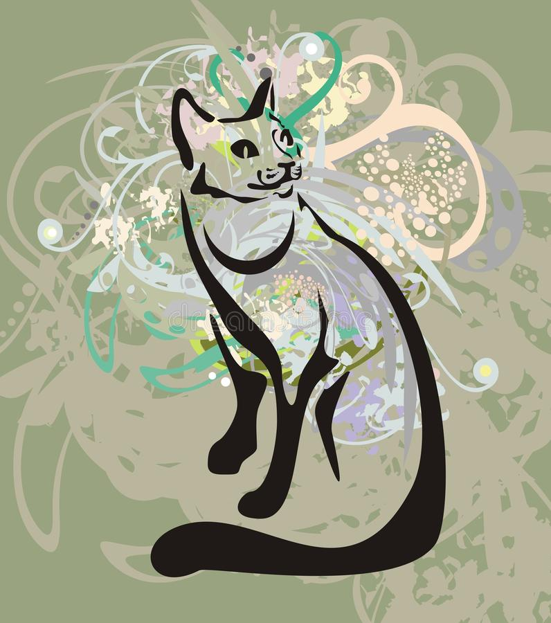 Sitting cat on an abstract background royalty free illustration