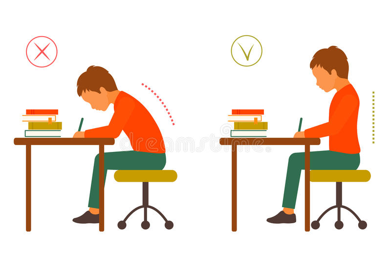 Sitting correct and incorrect body posture stock illustration