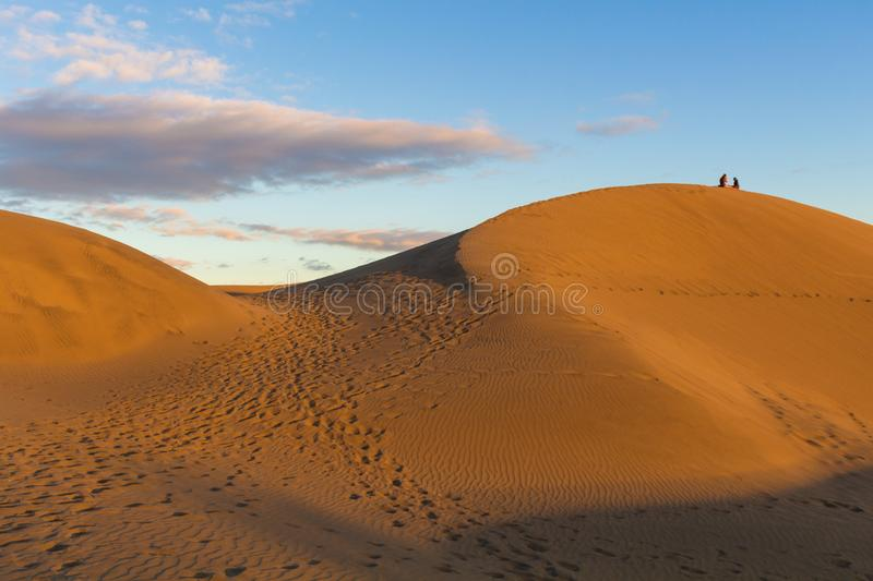 Sitting on the desert dunes in Gran Canaria stock images