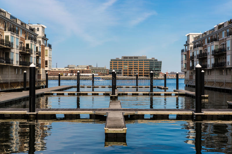 Sitting by the dock of the bay. Tranquil day sitting by the docks along the Chesapeake Bay, at Baltimore's Inner Harbor stock photo