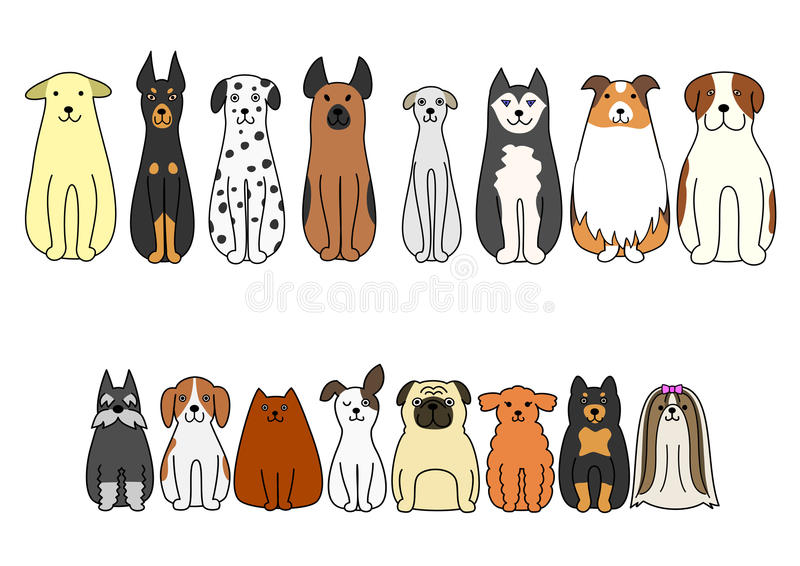 Sitting dogs stock illustration