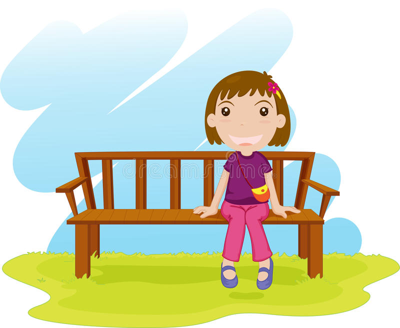 Sitting down stock vector illustration of alone color - Cartoon girl sitting alone ...