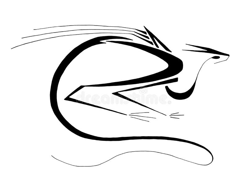 Line Art Dragon : Sitting dragon stylized line art stock illustration