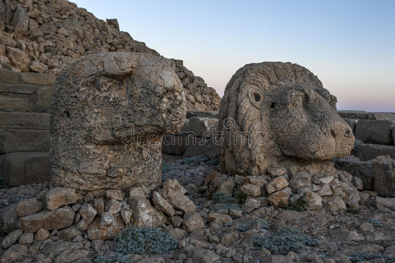 Sitting on the eastern platform of Mt Nemrut in Turkey are the statues of an eagle and a lion. stock image