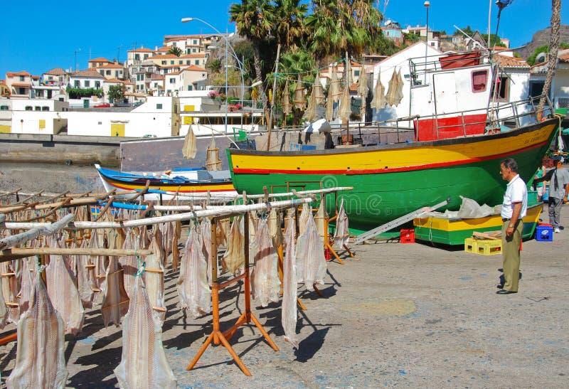 sitting för port för fartygfiskeflicka fotografering för bildbyråer