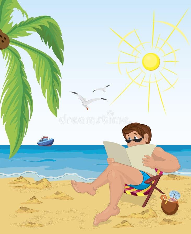 sitting för strandstolsman stock illustrationer
