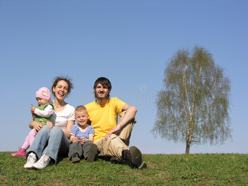 Download Sitting Family With Two Children. Spring. Stock Image - Image: 755377