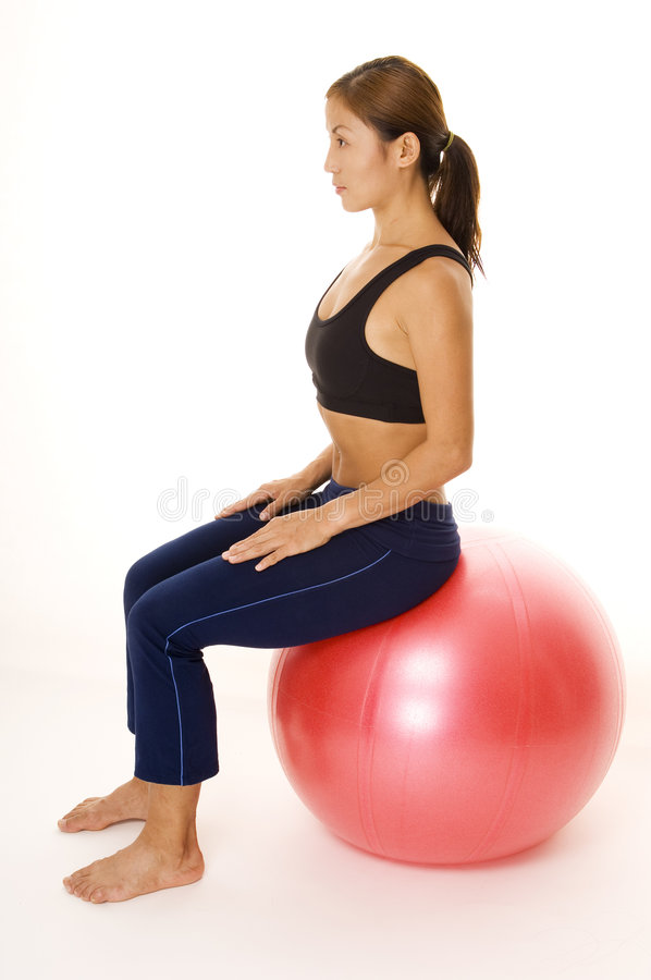 Sitting On Fitball stock photos
