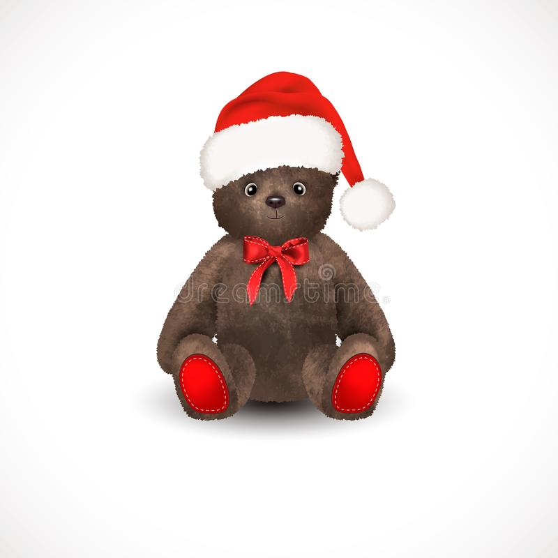 Sitting fluffy cute brown teddy bear with christmas santa claus hat a red bow. Children`s toy isolated on a white background. vector illustration