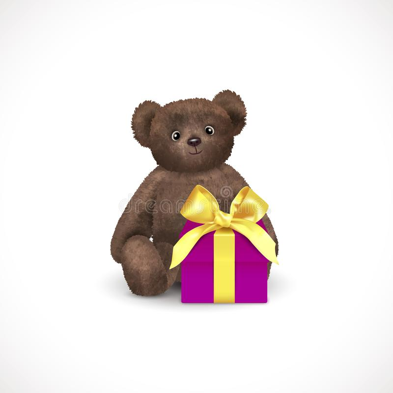 Sitting fluffy cute brown teddy bear with purple gift box with yellow bow. Children`s toy isolated on a white background. stock illustration