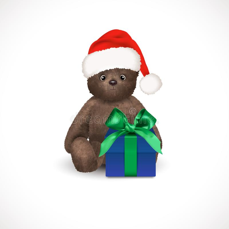 Sitting fluffy cute brown teddy bear with red christmas santa claus hat and blue gift box with green bow. Children`s toy isolated royalty free illustration