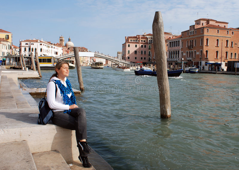 Sitting By The Grand Canal royalty free stock photos